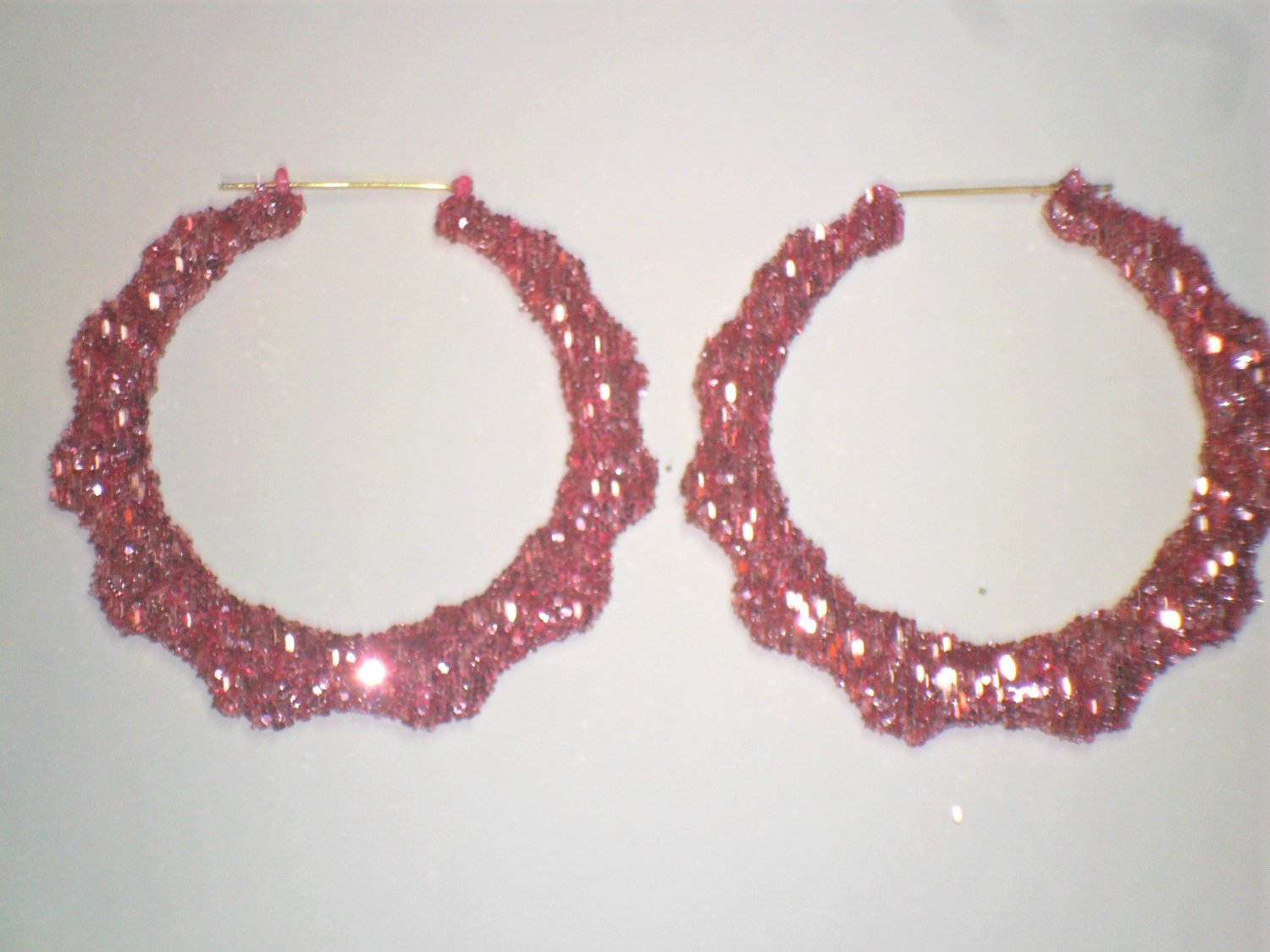 Bamboo Hoop Bling Bling Earrings Pink Buy 1 Get 1 Free Mix or MatchFrom TheiLLLines