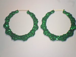 Bamboo Hoop Bling Bling Earrings Green Buy 1 Get 1 Free Mix or Match