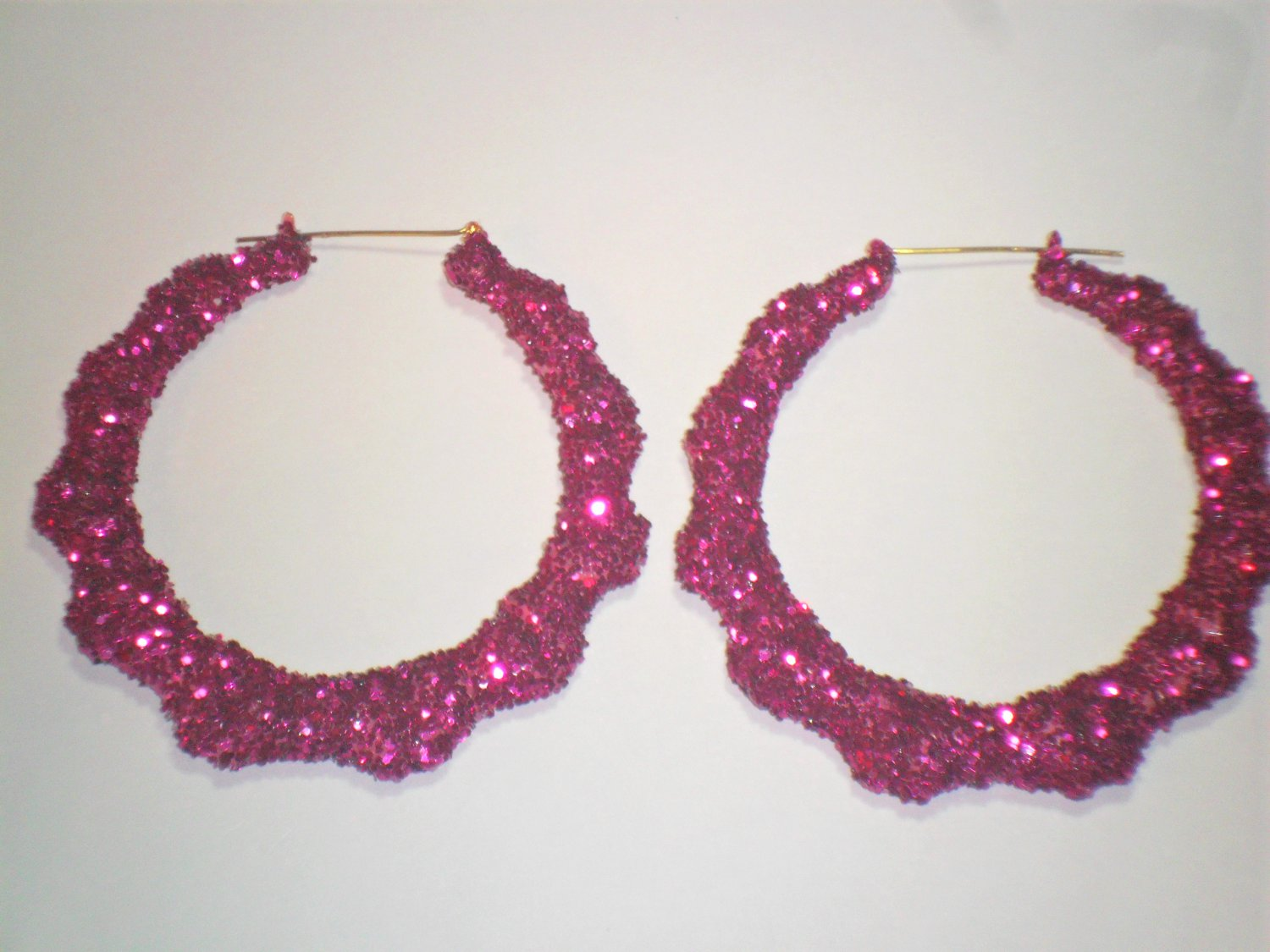 Bamboo Hoop Bling Bling Earrings Fuchsia Buy 1 Get 1 Free Mix or Match