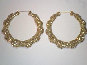 Bamboo Hoop Bling Bling Earrings Gold Buy 1 Get 1 Free Mix or Match