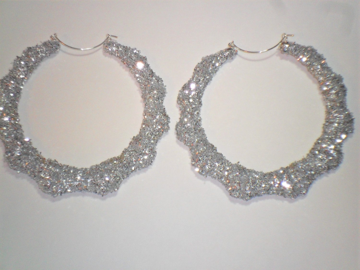 Bamboo Hoop Bling Bling Earrings Silver Buy 1 Get 1 Free Mix or Match