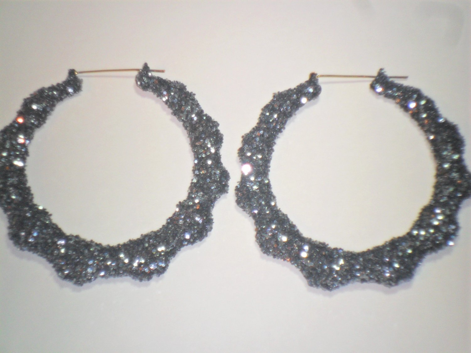 Bamboo Hoop Bling Bling Earrings Gunmetal Gray Buy 1 Get 1 Free Mix or MatchFrom TheiLLLines
