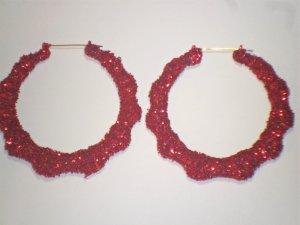 Ice Cream Bamboo Hoop Earrings Cherry Red