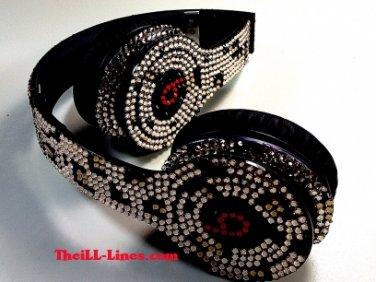 Beats Solo On Ear Headphones  Leopard Print Customized with Swarovski Elements