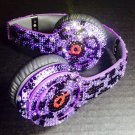 Beats Solo Headphones Purple Leopard Print Customized with Swarovski Elements