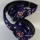 Beats Solo Headphones Blue Leopard Print Customized with Swarovski Elements
