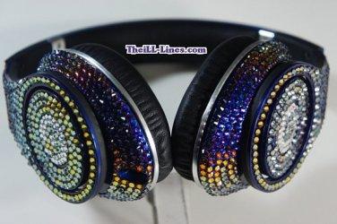 Beats Studio Over Ear Headphones made with Blue Iridescent Swarovski Elements
