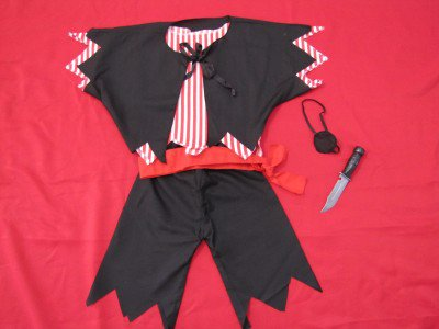 NIP BOYS 6 PC PIRATE COSTUME 2 SHIRTS PANTS BELT EYE PATCH KNIFE  SIZE 3 YEARS & UP