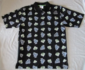 SOUTHPOLE MEN'S SHORT SLEEVE BLACK MULTI PRINT POLO SHIRT SIZE MEDIUM