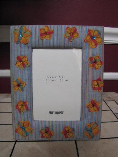 "NIB PIER 1 IMPORTS FABRIC COVERED FLOWER & GEM PHOTO FRAME FITS A 4""X6"" PHOTO"