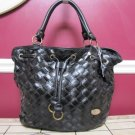 NEW BLACK BUCKETBAG WITH WEAVE FRONT DETAIL SOLID BACK NICE LARGE TRENDY BAG