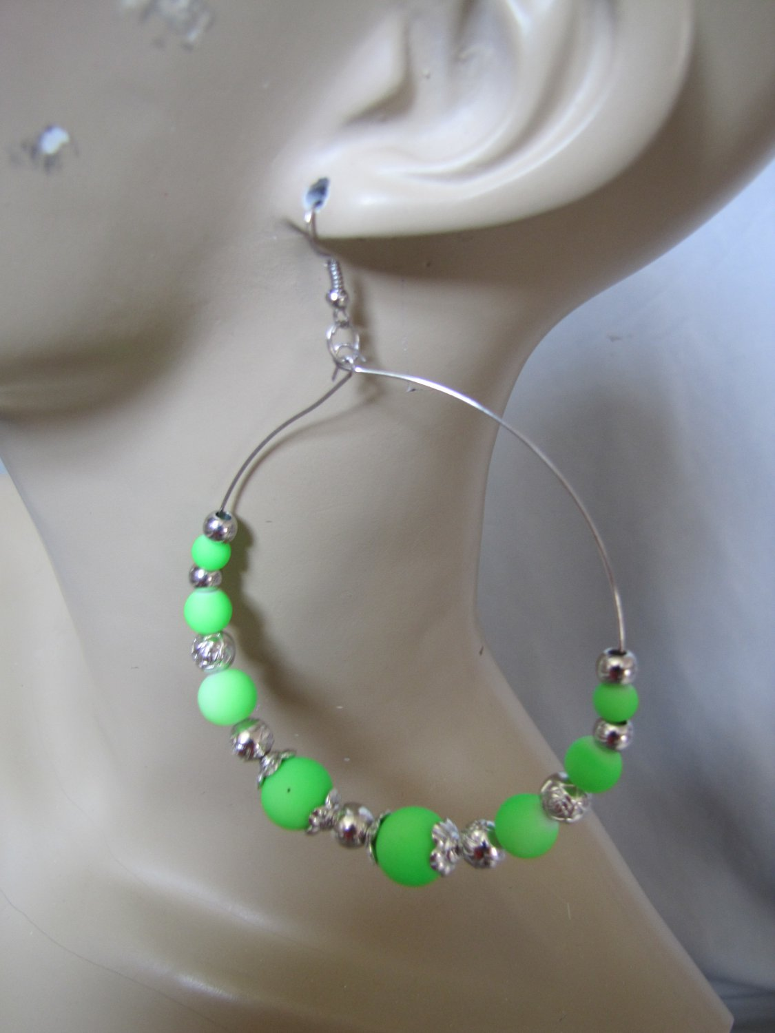 EXTRA LARGE SILVER TONE GREEN BEADED HOOP EARRINGS