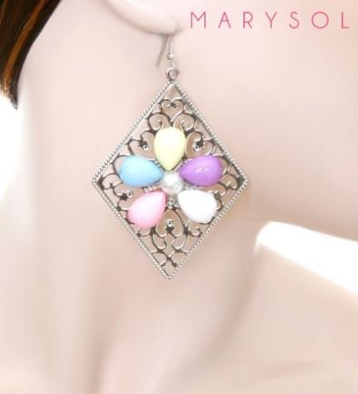 COLORFUL FLOWER STONE SILVER TONE EARRINGS