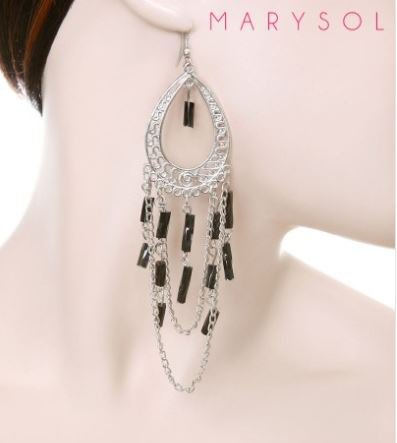 NEW SILVER TONE CHANDELIER EARRINGS WITH BLACK BEAD ACCENTS