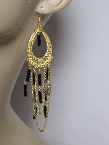 NEW GOLD TONE CHANDELIER EARRINGS WITH BLACK BEAD ACCENTS