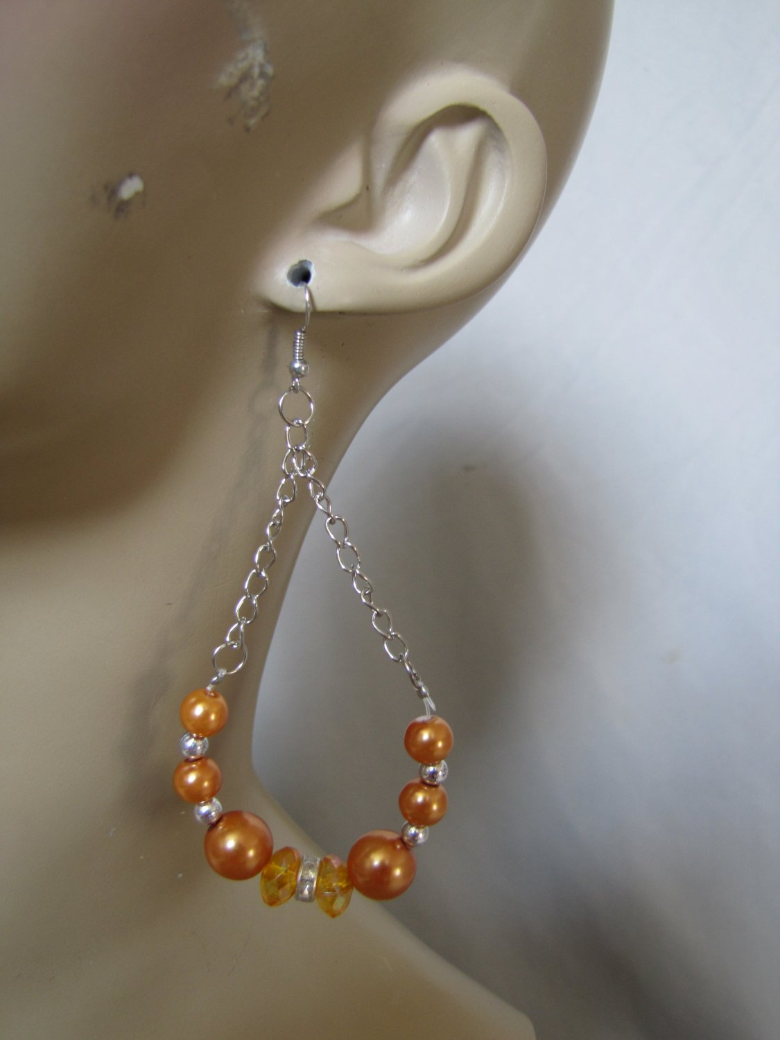SILVER TONE AMBER PEARL STONE CHANDELIER EARRINGS