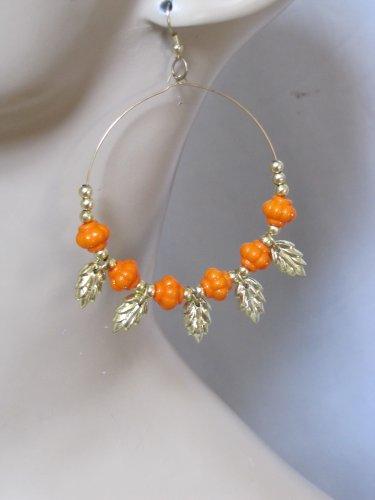 Fashion Hoop Earrings with Light Orange Beads & Leaf Detail