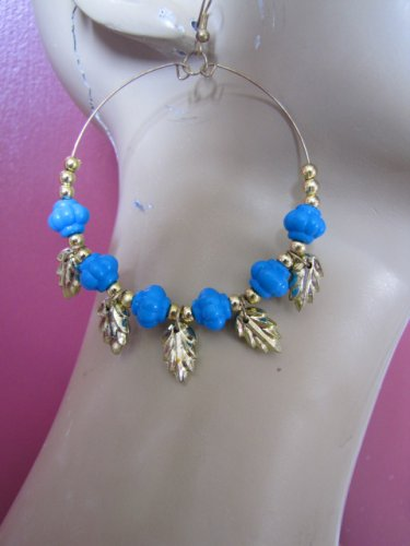 Fashion Hoop Earrings with Turquoise Beads & Leaf Detail