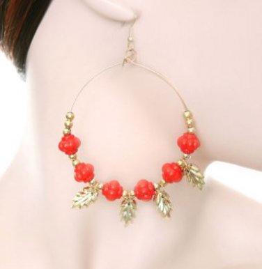 Fashion Hoop Earrings with Dark Orange Beads & Leaf Detail