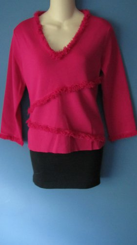 MISSES FUSCHIA COLOR 3/4 SLEEVE SWEATER W/FRINGE TRIM SIZE MED