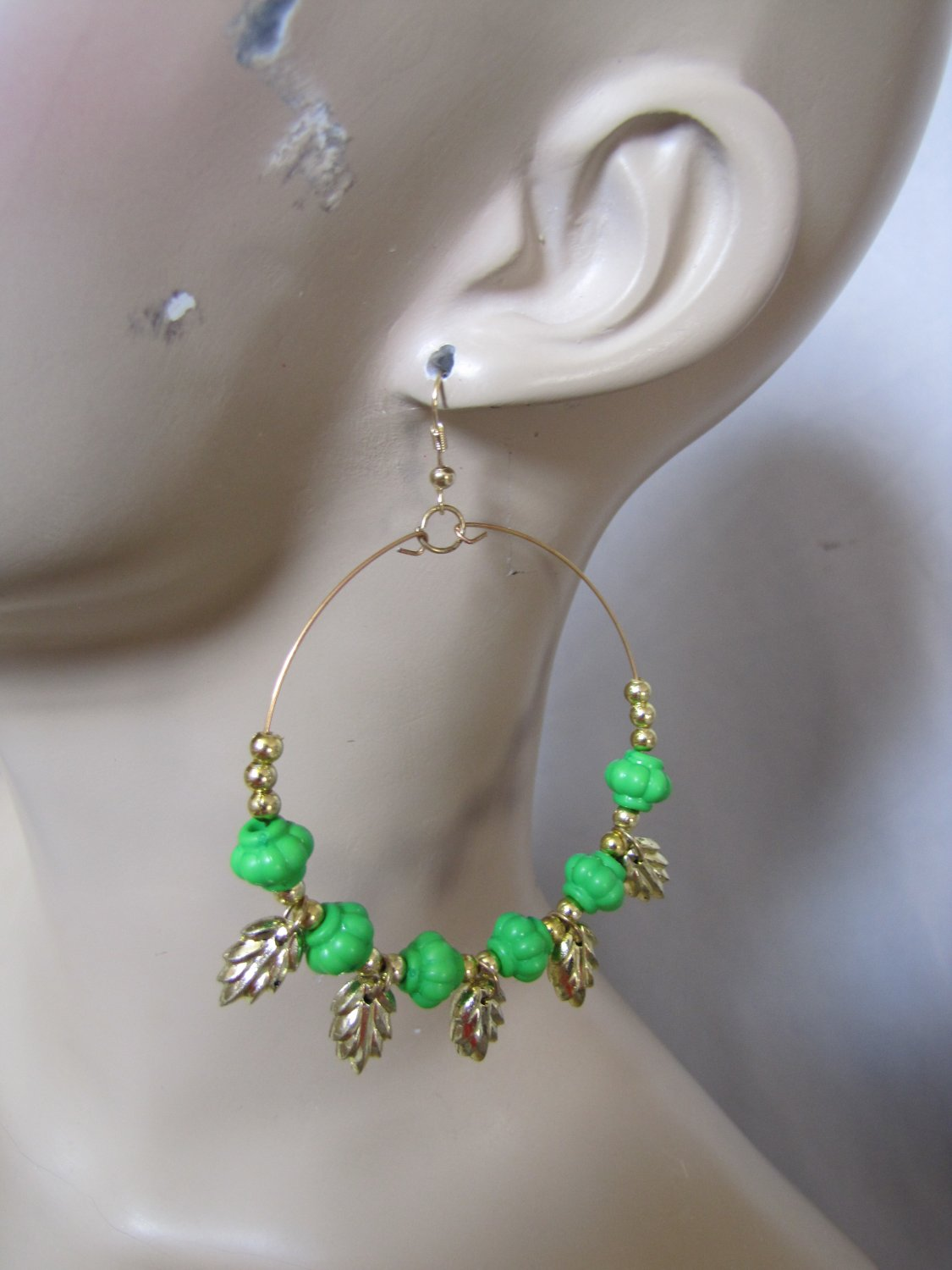 Fashion Hoop Earrings with Green Beads & Leaf Detail