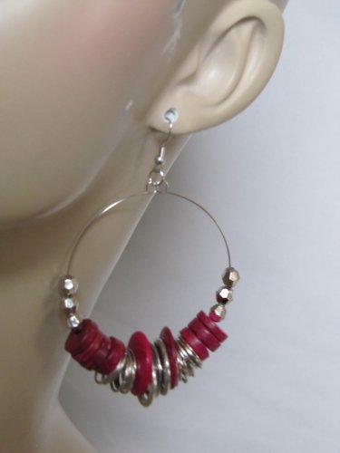 SILVER TONE HOOP EARRINGS W/BURGUNDY COLOR BEADS & SILVER DISC ACCENTS