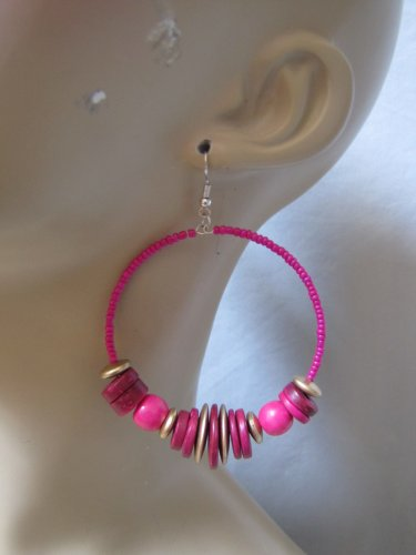 HOT PINK COLOR WOODEN BEAD HOOP EARRINGS LOTS OF BEAD DETAIL