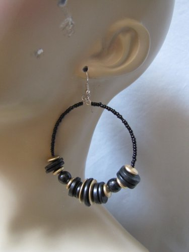 BLACK COLOR WOODEN BEAD HOOP EARRINGS LOTS OF BEAD DETAIL