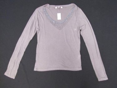 AEROPOSTALE PRETTY EMBELLISHED LONG SLEEVE TOP SIZE L