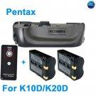 Battery Grip for Pentax K10D K20D as DBG2 + 2 D-LI50+Remote Control