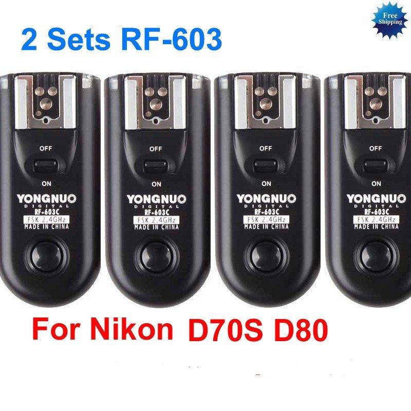 2 Sets RF-603 N2 Radio Flash Trigger for nikon D70S D80 MC-DC1