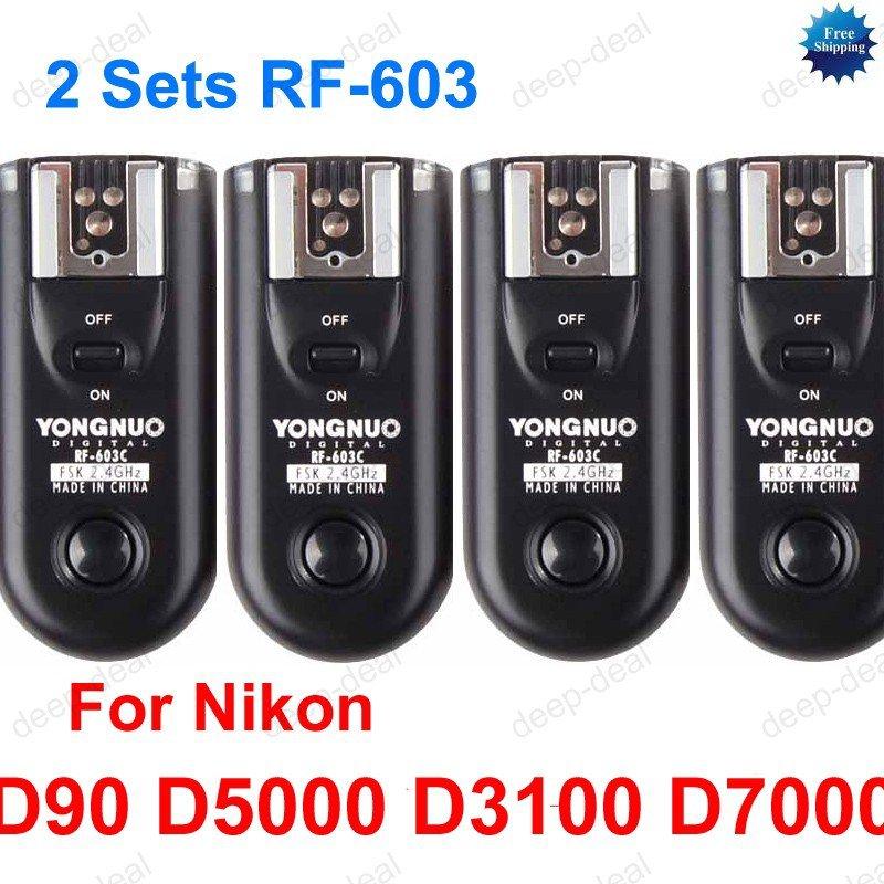 2 Sets RF-603 N3 Radio Flash Trigger for nikon D90 D5000 D3100 D7000