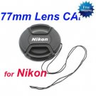 77mm Center Pinch Snap-on Front Lens Cap for NIKON Lens