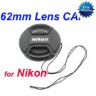 62 mm Center Pinch Snap-on Front Lens Cap for NIKON Lens