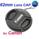 62 mm Center Pinch Snap-on Front Lens Cap for Canon Lens