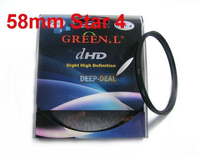 Green.L 58mm Star 4 Point 4PT Filter for 58 mm LENS