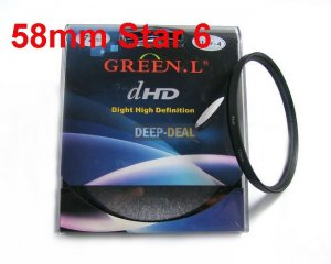 Green.L 58mm Star 6 Point 6PT Filter for 58 mm LENS