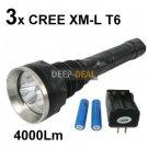 SKYRAY 3T6 3x CREE XM-L T6 LED Flashlight Torch 4000Lm
