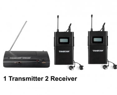 UHF Wireless In Ear Headphone Stage Monitor System 1 Transmitter 2 Receiver Pack
