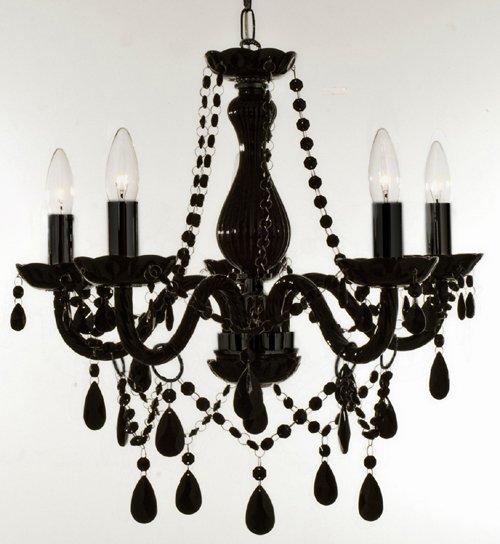 5 Light Black Crystal Chandelier