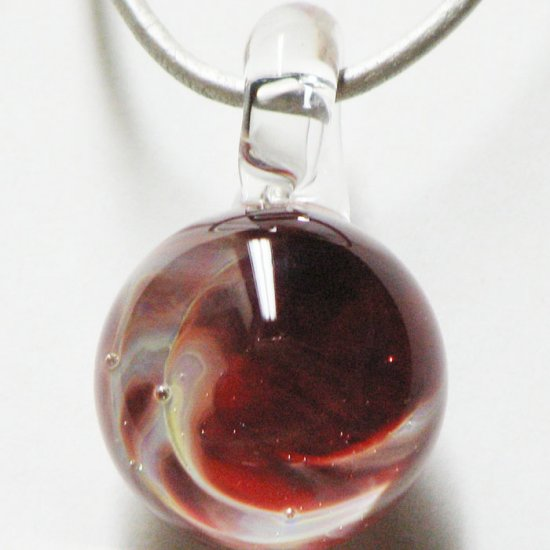 2 sided red nebula - handmade glass marble pendant