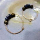 Winifred - lapis lazuli, solid copper bead, bronze wire earrings