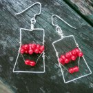 Eithne - natural red sea coral and sterling silver filled wire earrings