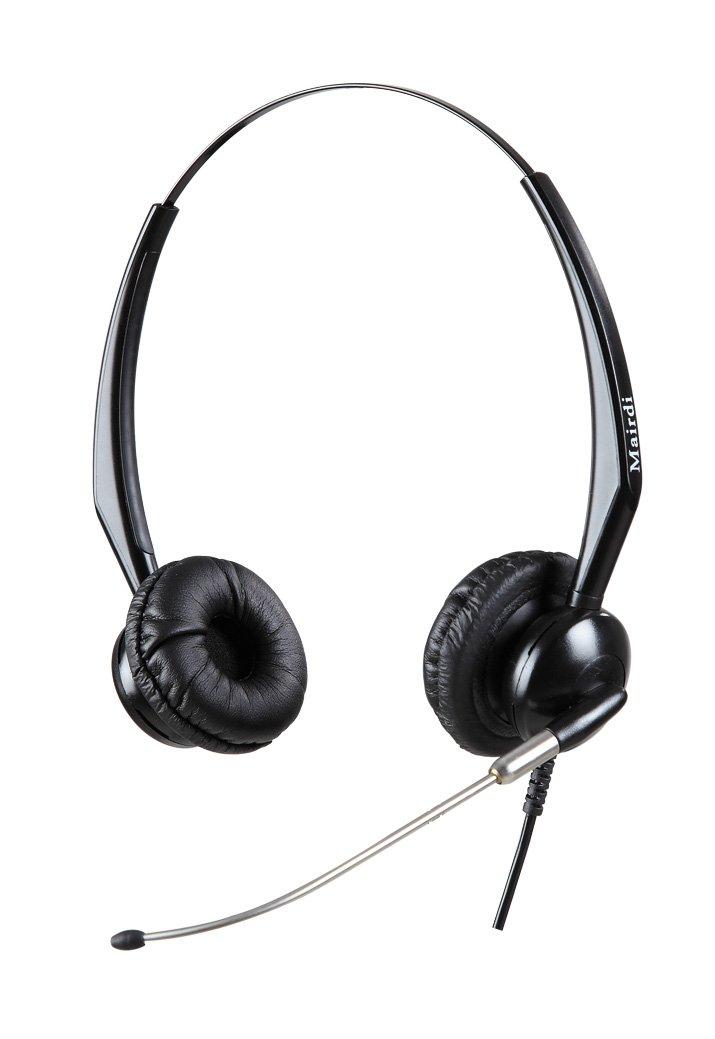 Binaural Mairdi MRD-512D Call Center Headset with Rigid Metal Microphone Boom