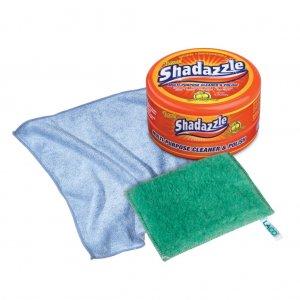 Shadazzle Multi-Purpose Cleaner & Polisher Tub + Polishing Cloth + Scrubbing Pad
