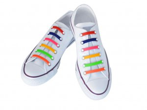 Silly Laces Silicone Slip On Shoelaces Rainbow Adult (Wide) Shoe Size