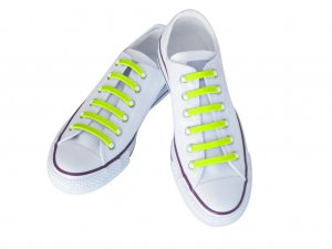 Silly Laces Silicone Slip On Shoelaces Fluorescent Yellow Adult (Wide) Shoe Size