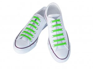 Silly Laces Silicone Slip On Shoelaces Fluorescent Green Adult (Wide) Shoe Size