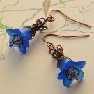 Vintage Flower Earrings - Blue Lucite