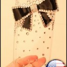 Verizon Sprint Iphone 4 4s Clear Back Case Hello Kitty Style Black Bow Bling Bling Iced Out Crystal